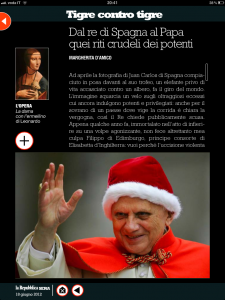 Tigre contro tigre - Dal re di Spagna al Papa quei riti crudeli dei potenti - di Margherita d'Amico - Repubblica sera
