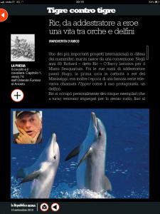 Tigre contro tigre - Ric, da addrestratore a eroe; una vita tra orche e delfini - di Margherita d'Amico - Repubblica sera