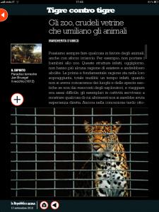 Tigre contro tigre - Gli zoo, crudeli vetrine - di Margherita d'Amico - Repubblica sera