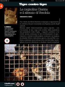 Tigre contro tigre - La cagnolina Gianna e il silenzio di Vendola - di Margherita d'Amico - da Repubblica sera