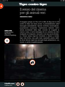 Tigre contro tigre- Il senso del cinema per gli animali veri - di Margherita d'Amico - Repubblica Sera