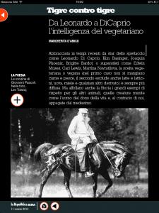 Tigre contro tigre - Da Leonardo a Di Caprio l'intelligenza del vegetariano - di Margherita d'Amico - Repubblica sera